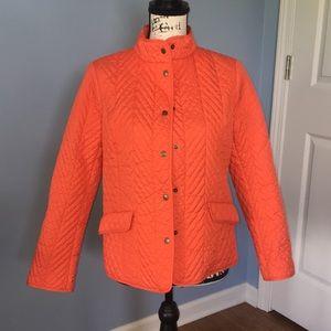 TALBOTS lightweight quilted jacket orange MP